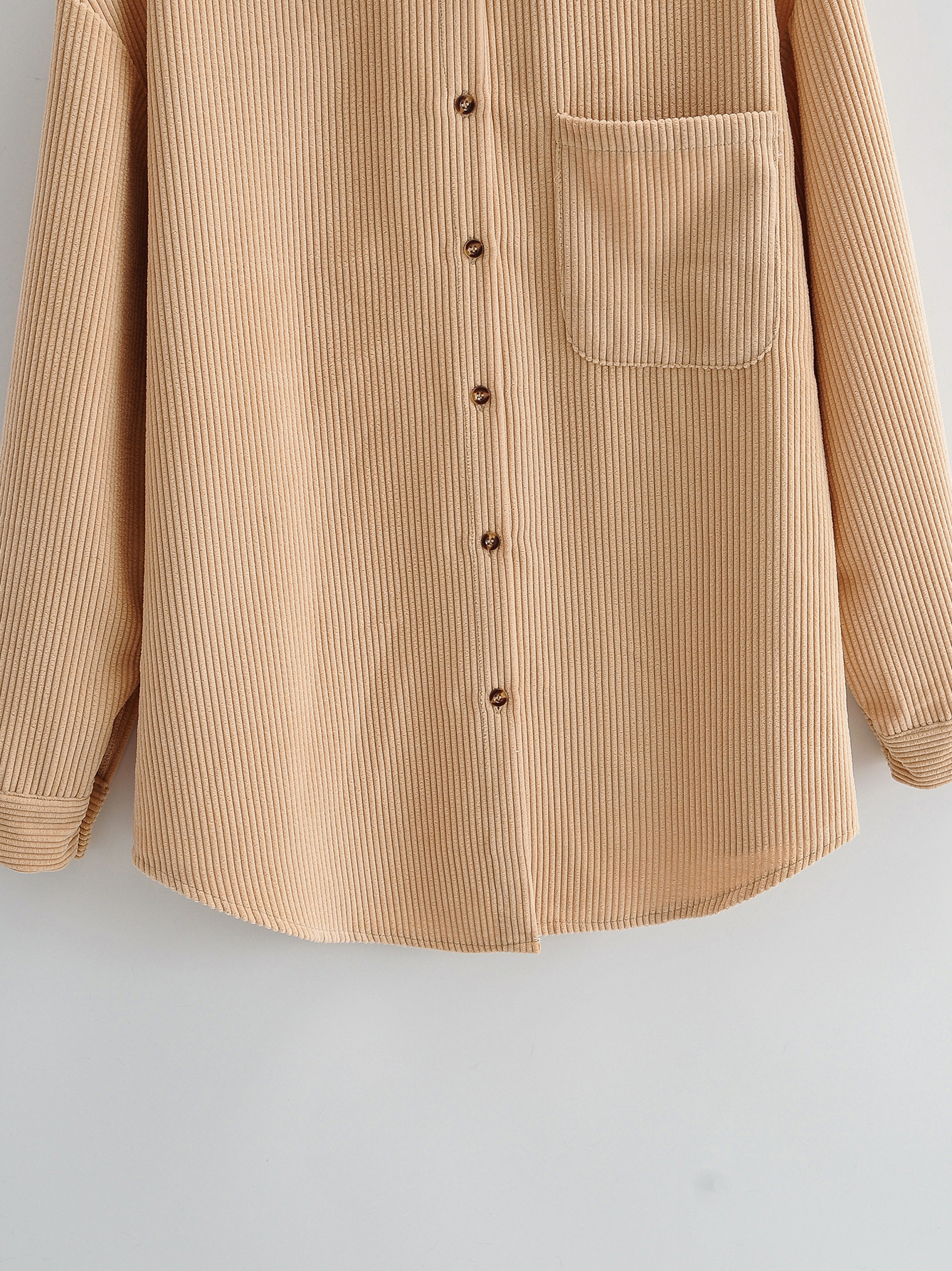 Casual Corduroy Pure Color Long Sleeve Loose Blouse