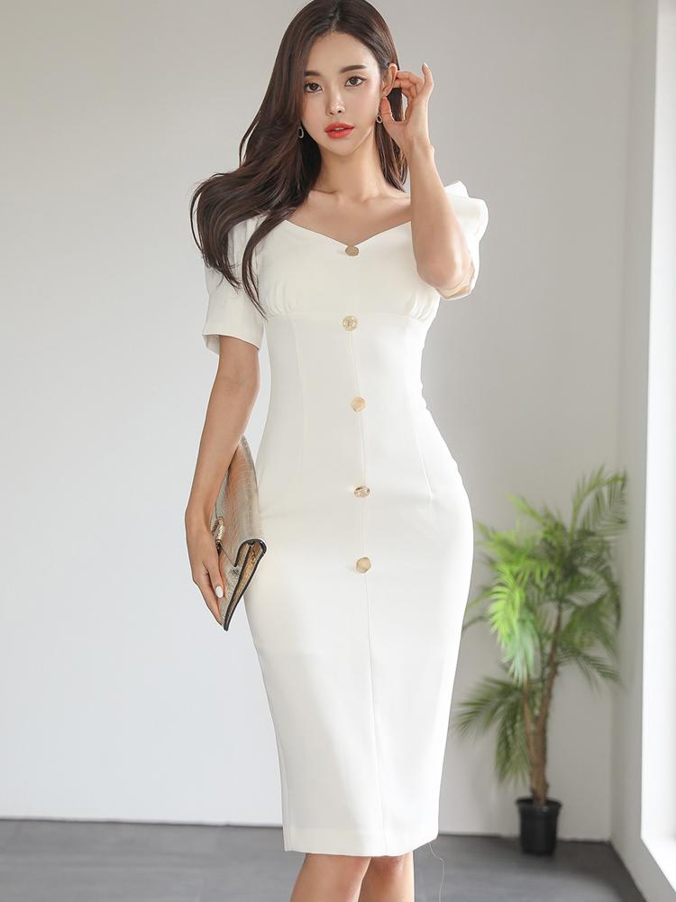 Temperament Pure White Buttons Short Sleeve Dress