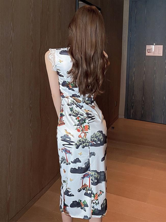 Classic Print Slit Sleeveless Patchwork Lace Cheongsam