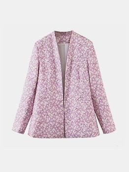 Fall Floral Purple Long Sleeve Coat Cor Women