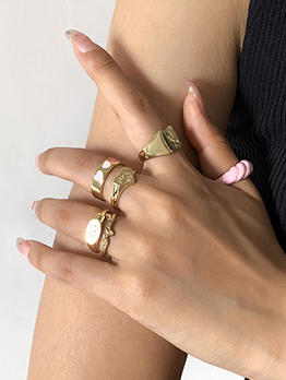 Fashion Heart Rose Letter Thread 6 Piece Ring Set
