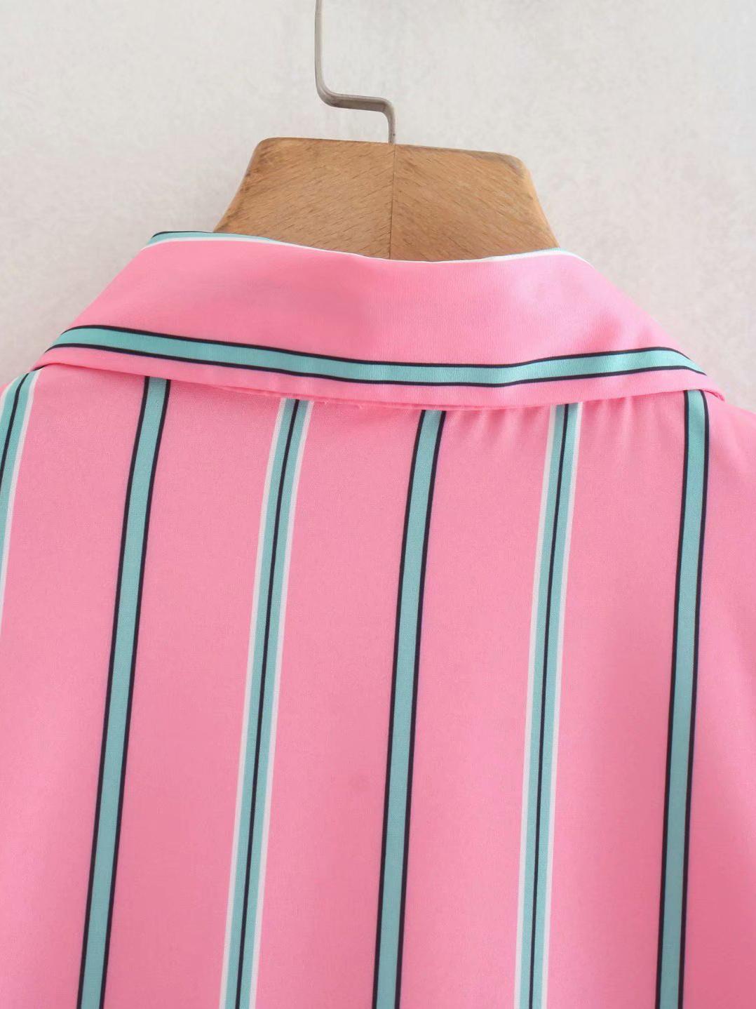 Fall Striped Pink Long Sleeve Pocket Women Blouse