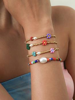 Chic Faux-Pearl Shape Contrast Color Bracelet Set