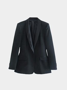 Outdoor Black V Neck Long Sleeve Women Blazer