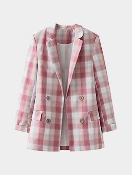 Notch Collar Pink Plaid Long Sleeve Blazer Coat