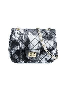Trendy Tie Die Rhombus Lattice Shoulder Bag