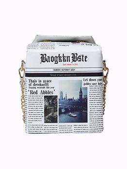 Chic Newspaper Printed Box Shape Shoulder Bag