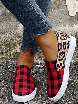 Casual Plaid Leopard Canvas Slip On Shoes