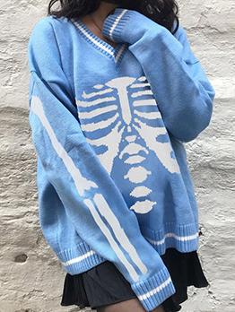 Winter Loose V Neck Long Sleeve Pullover