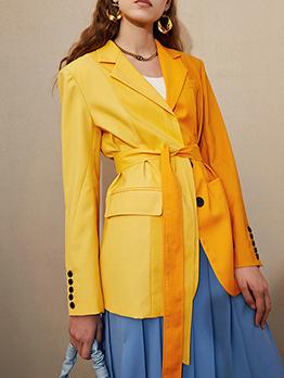 Fashion Contrast Color Tie Wrap Blazer