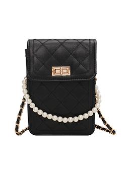 Fashion Faux Pearl Rhombus Lattice Shoulder Bag