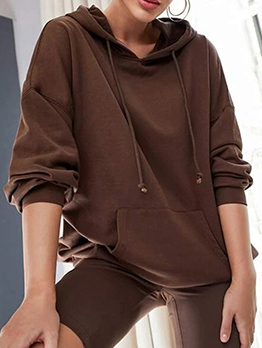 Casual Hooded Collar Solid Pocket Hoodie For Women