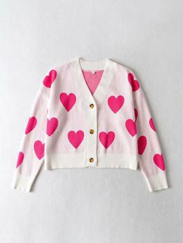 Fashion V Neck Heart Printed Cardigan Sweater