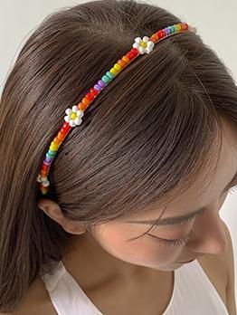 Simple Countryside Colorful Beaded Hair Hoop