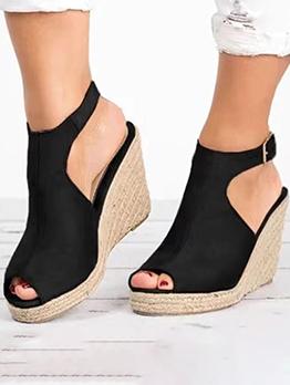 Summer Vintage Peep Toe Women Wedge Shoes