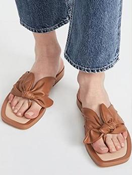 Square Toe Fashion Flat Soles Flip Flop Women