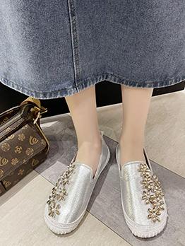 Rhinestone Korean Style Fashion Flat Shoes Women
