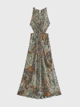 Vintage Hollow Out Sleeveless Tie Wrap Maxi Dress