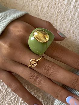 Vintage Fashion Acrylic Geometry Ring Set For Women