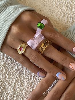 Vintage National Style Geometry Ring Set