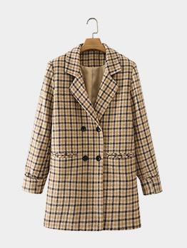 Vintage Khaki Plaid Long Sleeve Blazer For Women