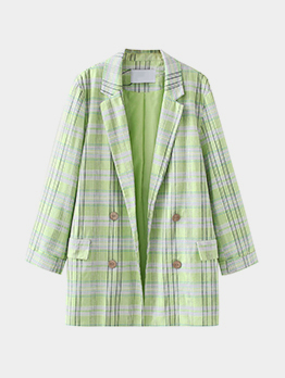 Trendy Green Plaid Long Sleeve Blazer For Women