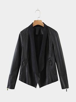 Street Solid Zipper Pocket Long Sleeve Faux Leather Jacket