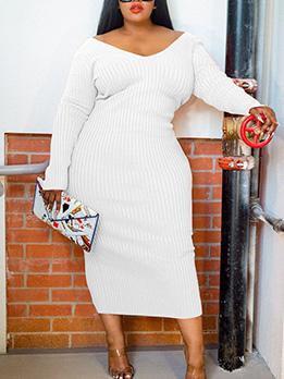 Plus Size Long Sleeve V Neck Dress