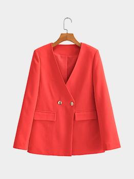 Simple Design Red V Neck Fall Blazer Coat