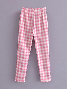 Casual Plaid Straight High Waist Women Long Pant