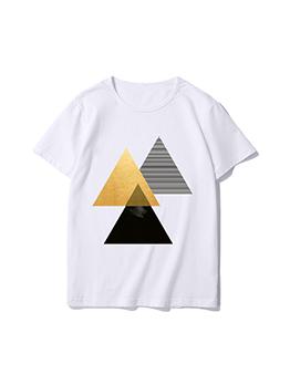 Casual Triangle Women T Shirt Printing