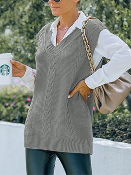Casual V Neck Camisole Pullover Sweater