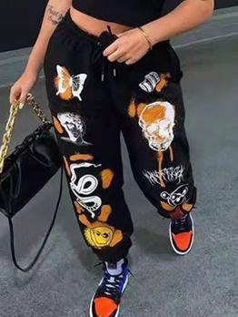 New Thicken Black Print Long Pants
