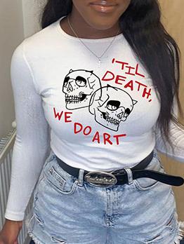 Funny Print Letter White Long Sleeve T-Shirt