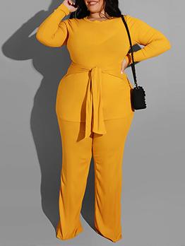 Casual Solid Lace Up Plus Size Pant Suits