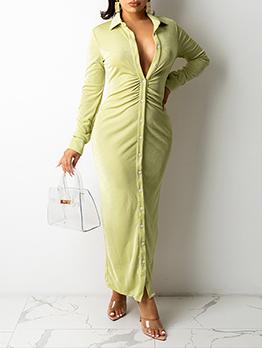 Attractive Velvet  Ruched Long Sleeve Shirt Maxi Dress