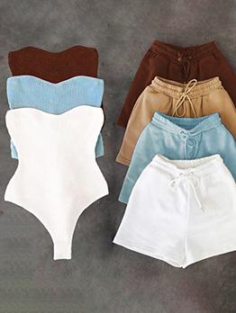 Pure Color Strapless Bodysuit With Short Pant Sets