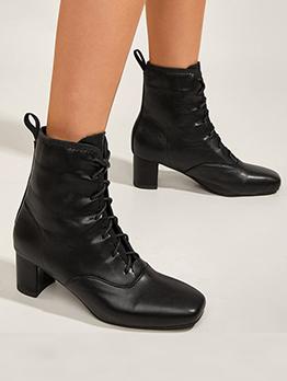 Plain Black British Style Lace Up Ankle Boots
