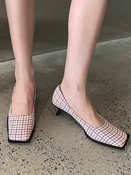 Square Toe Plaid Pump Slip On Heels