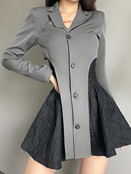 Chic Irregular Gray Long Sleeve Notch Collar Coat