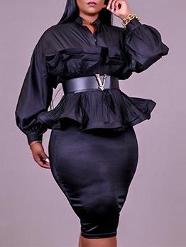 Plus Size Plain Black 2 Piece Skirt Set