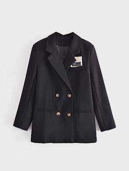 Business Black Button Up Long Sleeve Women Blazer
