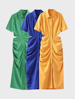 Summer Hollow Out Button Up Shirt Maxi Dress