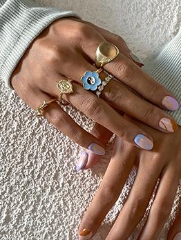 Irregular Geometry Vintage Rhinestone Ring Set