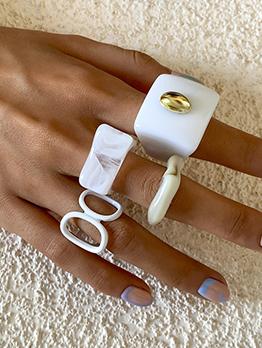Fashion Acrylic Irregular Geometry Ring Set