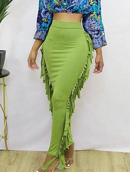 Easy Matching Tassel Green Maxi Skirt For Women