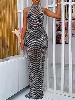 Gauze See Through Rhinestone Backless Maxi Evening Dress