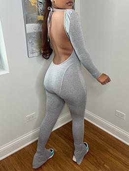 Sexy Backless Long Sleeve U Neck Jumpsuit