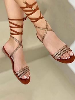 New Tie-Wrap Beach Flat Sandals For Women