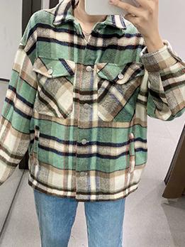 Street Style Fashion Plaid Vintage Autumn Shirts Coat
